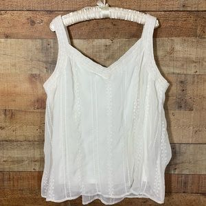 Torrid White Chiffon Embroidery Cami. Size 2